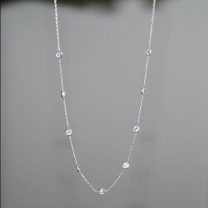 Etsy Jewelry - HANDMADE SILVER CZ CRYSTALS STATION NECKLACE 15""